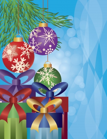 ribbons and bows: Presents Under the Christmas Tree Ornaments with Snowflakes Pattern Illustration