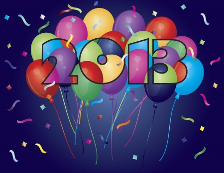 Colorful Balloons in New Year 2013 Numeral Silhouette Outline with Confetti Illustration Vector