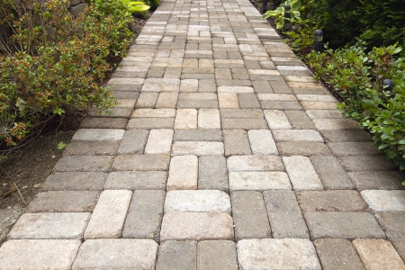 Garden Brick Pavers Path Walkway with Basket Weave Pattern photo