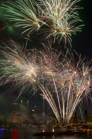 eastbank: Fireworks Display Along Willamette River with Portland Oregon Skyline at Night
