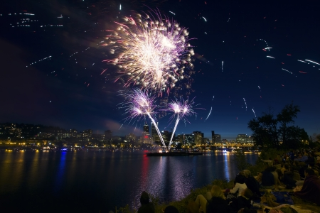 eastbank: People Watching Fireworks Display Along the Banks of Willamette River in Portland Oregon