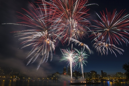 4th of July Fireworks Display in Portland Oregon Along Willamette River Waterfront photo