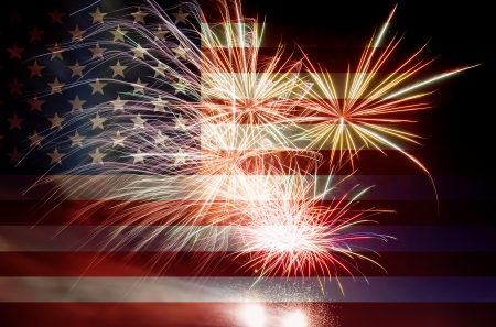 july: United States of America USA Flag with Fireworks Background For 4th of July