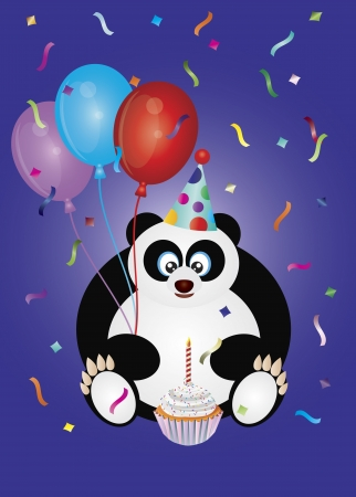 Happy Birthday Panda Bear with Party Hat Balloons and Cupcake Illustration Vector
