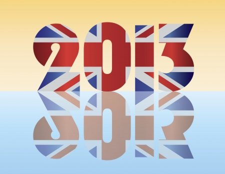 Happy New Year London England 2013 Silhouette with Union Jack Flag Illustration Vectores