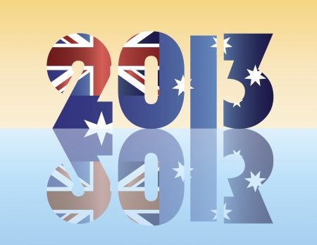 Happy New Year 2013 Silhouette with Australia Flag Illustration
