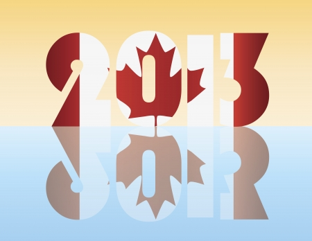 Happy New Year 2013 Silhouette with Canada Flag Illustration Stock Vector - 14360849