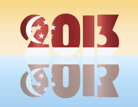 Happy New Year 2013 Silhouette with Singapore Flag Illustration