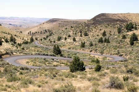 Long Winding Highway Along High Desert Farmland Landscape in Central Oregon photo