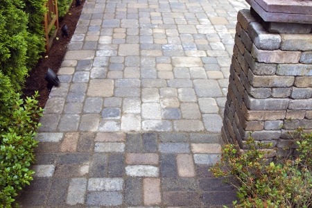 backyards: Backyard Garden Landscaping Hardscape with Cement Pavers Patio