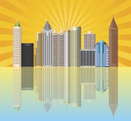 georgia: Atlanta Georgia City Skyline  with Sun Rays and Reflection Illustration