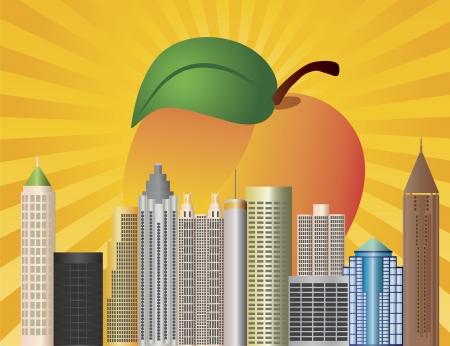 복숭아: 배경 일러스트 레이 션의 태양 광선, 복숭아 과일 애틀랜타 조지아 도시의 스카이 라인