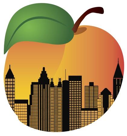 복숭아: 애틀랜타 조지아 도시의 스카이 라인 밤 실루엣 안쪽 복숭아 과일 그림