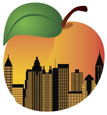 city skyline night: Atlanta Georgia City Skyline Night Silhouette Inside Peach Fruit Illustration