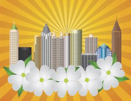 Atlanta Georgia City Skyline  with Sun Rays and Dogwood Tree Flowers in Background Illustration