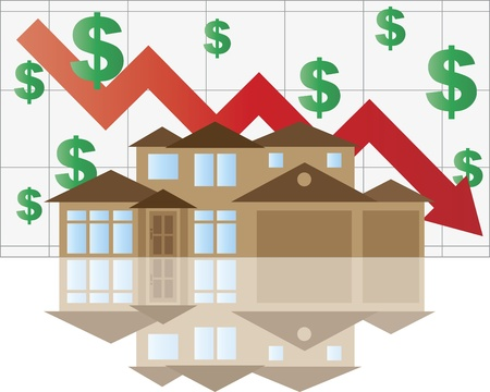 home value: Home Value Falling Chart with House Arrow Dollar Signs Graph Illustration Illustration