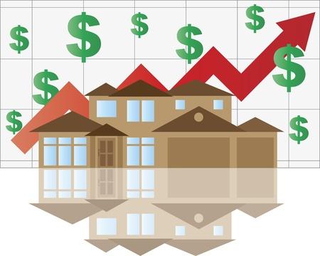 Home Tabla de valor en alza con Flecha Casa Ilustración Gráfica Dollar Signs