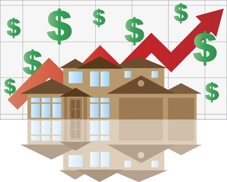 Home Waarde Rising Grafiek met Huis Arrow Dollar Signs Grafiek Illustratie