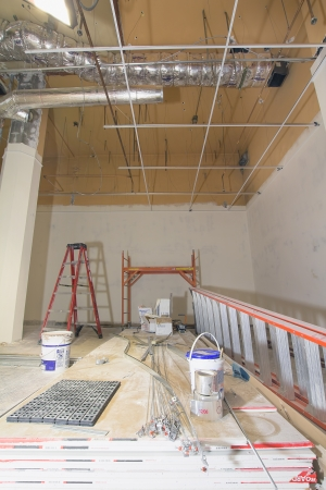 commercial construction: Commercial Space Construction Renovation with Heating Cooling Duct Work Drywall and Ceiling