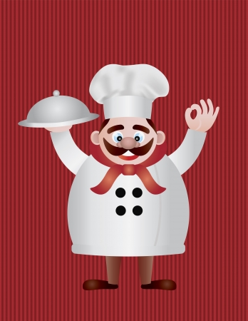 Chef with Tray on Red Stripes Background Illustration Vector