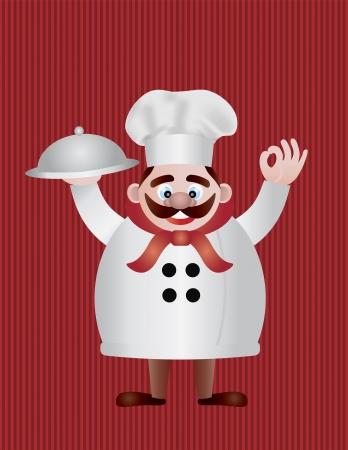 chef italiano: Cocinero con la bandeja en la ilustración de fondo rojo Stripes Vectores