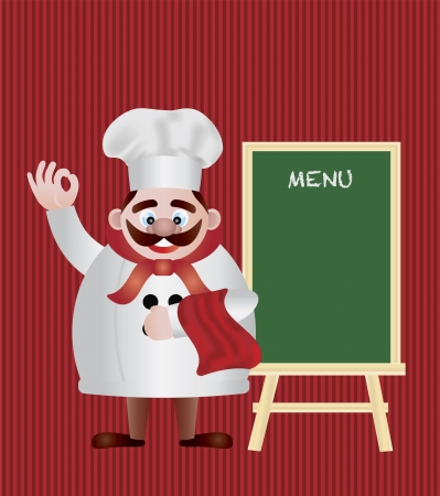 Chef with Menu Sign Chalkboard on Red Stripes Background Illustration Vector