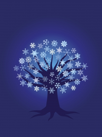 holiday: Christmas Winter Tree with Snowflakes Night Scene Illustration on Blue Background