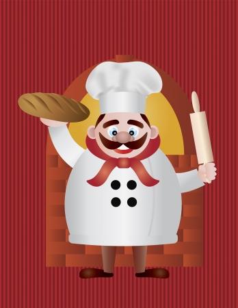 麺棒で赤い縞模様の背景図れんが造りのオーブンでパンとベーカー シェフ