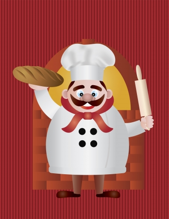 Baker Chef with Bread and Rolling Pin by Brick Oven on Red Stripes Background Illustration