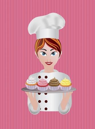 女性パティシエ カップケーキのイラスト