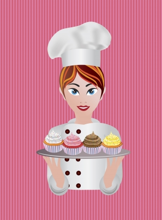female chef: Woman Pastry Chef with Cupcakes Illustration