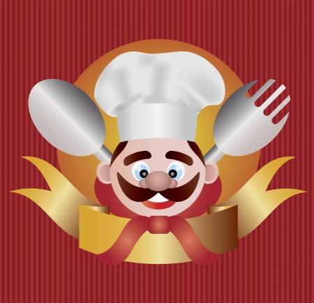 chef italiano: Chef con cuchara Banner Tenedor de Ilustración Fondo Rojo Stripes