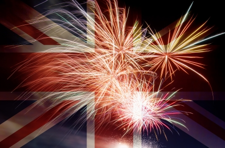 UK Great Britain Union Jack Flag with Fireworks Background
