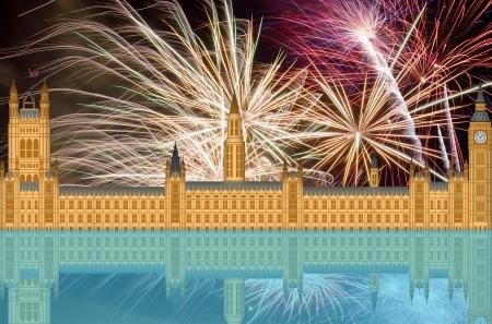 UK London England Westminster Palace Skyline with Fireworks Background Stock Photo - 14627145