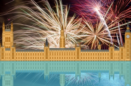 the palace of westminster: UK London England Westminster Palace Skyline with Fireworks Background