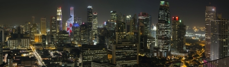Singapore City Skyline with Central Financial District and Chinatown at Night Panorama photo