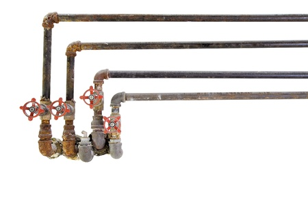 corrode: Old Heating Cooling Water Plumbing Pipes with Valves on White Background