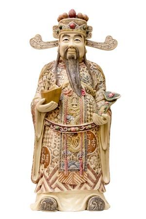 cetro: Prosperidad Money Dios Holding Gold Bar y Ruyi cetro de marfil tallado estatua Foto de archivo
