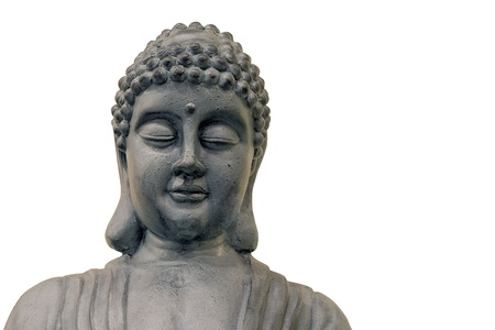 Japanese Zen Buddha Statue Front Closeup Isolated on White Background
