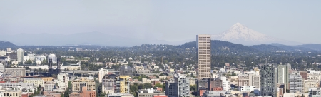 Portland Oregon Downtown Cityscape with Mount Hood Panorama photo