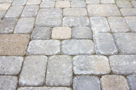 Garden Backyard Concrete Stone Brick Pavers Patio Closeup Stock fotó