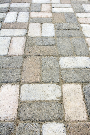 Garden Concrete Brick Pavers Basket Weave Pattern Closeup photo