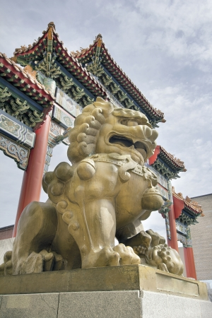 oldtown: Chinese Female Foo Dog Prosperity Lion Statue at Chinatown Gate in Portland Oregon