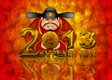 2013 Happy New Year Chinese Money Prosperity God Holding Round Gold Dragon Coin Illustration illustration