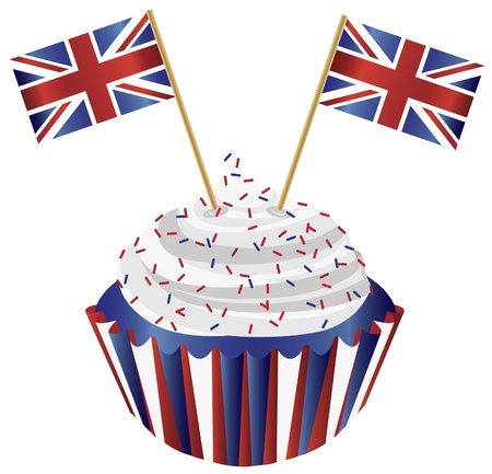 United Kingdom England Cupcake with Jack Union Flags Illustration
