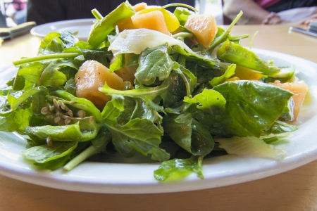 Heirloom Melons with Arugula Greens Salad with Balsamic Vinegar Dressing