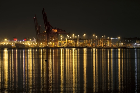 bc: Port of Vancouver British Columbia Canada at Night