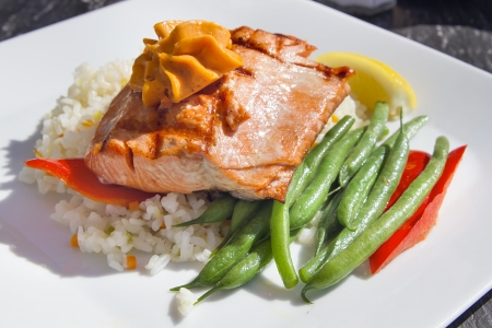 entree: Grilled Salmon Fillet Over Basmati Rice with String Beans Bell Peppers and Butter