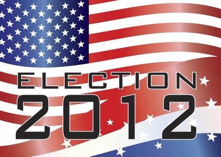 estados unidos bandera: Elecciones 2012 con barras y estrellas y EE.UU. Bandera del Vectores