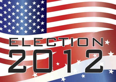 Election 2012 with Stars and Stripes and US Flag Illustration